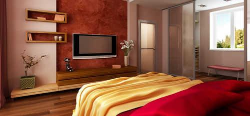 телевизор, спальня, интерьер